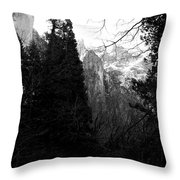 Mountains Of Yosemite . 7d6214 . Black And White Throw Pillow by Wingsdomain Art and Photography