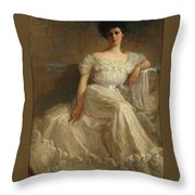 Mrs. Leslie Thayer Green Throw Pillow by John Willard Clawson