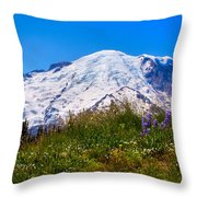 Mt Rainier Meadow With Lupine Throw Pillow by David Patterson