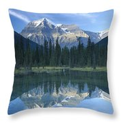 Mt Robson Highest Peak In The Canadian Throw Pillow by Tim Fitzharris
