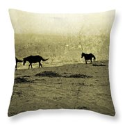 Mustangs Throw Pillow by Betsy Knapp