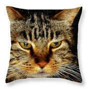 My Bored Cat Throw Pillow by Mariola Bitner