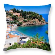 Nagos Beach  Throw Pillow by Emmanuel Panagiotakis