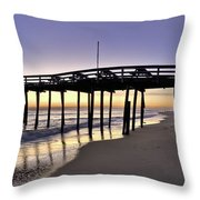Nags Head Fishing Pier at Sunrise - Outer Banks Scenic Photography Throw Pillow by Rob Travis