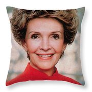 Nancy Reagan, 40th First Lady Throw Pillow by Photo Researchers