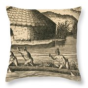 Native Americans Transporting Crops Throw Pillow by Photo Researchers