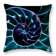 Nautilus Shell - Electric - v2 - Cyan Throw Pillow by Wingsdomain Art and Photography
