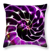 Nautilus Shell Ying and Yang - Electric - v1 - Violet Throw Pillow by Wingsdomain Art and Photography