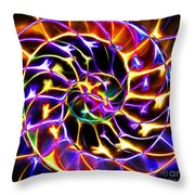 Nautilus Shell Ying And Yang - Electric - V2 - Yellow-purple Throw Pillow by Wingsdomain Art and Photography