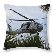 Navy Seals Look Out The Helicopter Door Throw Pillow by Michael Wood