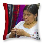 Needleworking Lady Throw Pillow by Heiko Koehrer-Wagner