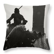 Neptune Fountain and Rotes Rathaus tower Throw Pillow by RicardMN Photography