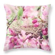 Nest In Soft Pink Throw Pillow by Stephanie Frey