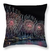 New York City Celebrates The 4th Throw Pillow by Susan Candelario