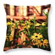 New York City Flowers Along The High Line Park Throw Pillow by Vivienne Gucwa