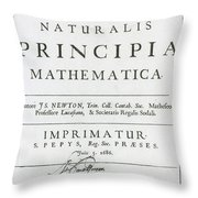 Newtons Principia, Title Page Throw Pillow by Science Source