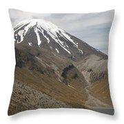 Ngauruhoe Cone And Upper Tama Lake Throw Pillow by Richard Roscoe