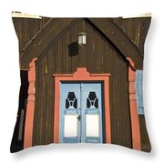 Norwegian Wooden Facade Throw Pillow by Heiko Koehrer-Wagner