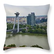 Novy Most Bridge - Bratislava Throw Pillow by Jon Berghoff