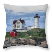 Nubble Light At Dusk Throw Pillow by Eric Gendron