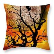 Nuclear Moonrise Throw Pillow by Meirion Matthias