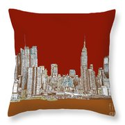 Nyc Red Sepia  Throw Pillow by Adendorff Design