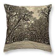 Oak Alley 3 Antique Sepia Throw Pillow by Steve Harrington