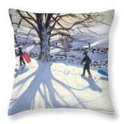 obogganers near Youlegrave Throw Pillow by Andrew Macara