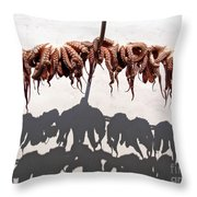Octopus Drying Throw Pillow by Jane Rix