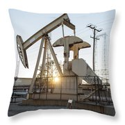 Oil Derrick Throw Pillow by Mike Raabe