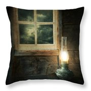 Oil Lamp On Table By Window Throw Pillow by Jill Battaglia