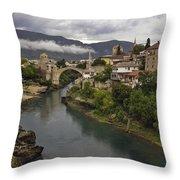 Old Bridge Of Mostar Throw Pillow by Ayhan Altun