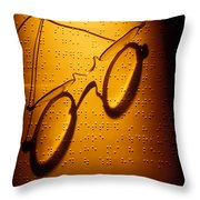 Old Glasses On Braille  Throw Pillow by Garry Gay