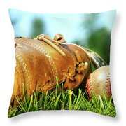 Old Glove And Baseball  Throw Pillow by Sandra Cunningham