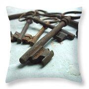 Old Keys Throw Pillow by Bernard Jaubert