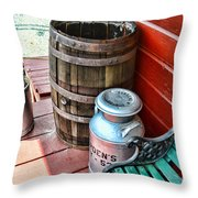 Old milk cans and rain barrel. Throw Pillow by Paul Ward