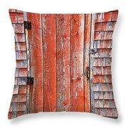 Old Orange Door  Throw Pillow by Garry Gay
