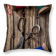 Old Scissors And Spools Of Thread Throw Pillow by Garry Gay