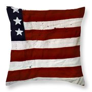 Old Usa Flag Throw Pillow by Carlos Caetano