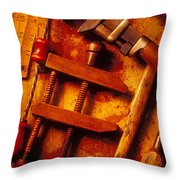 Old Worn Tools Throw Pillow by Garry Gay