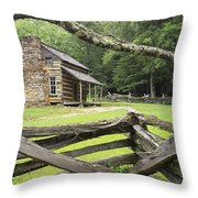 Oliver Cabin In Cade's Cove Throw Pillow by Randall Nyhof