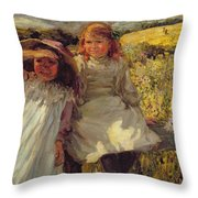 On The Stile Throw Pillow by Frederick Stead
