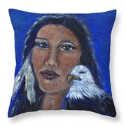 Onawa Native American Woman Of Wisdom Throw Pillow by The Art With A Heart By Charlotte Phillips