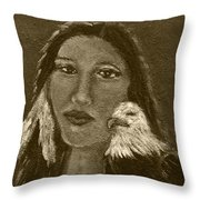 Onawa Native American Woman Of Wisdom With Eagle In Sepia Throw Pillow by The Art With A Heart By Charlotte Phillips