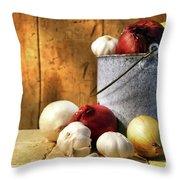 Onion harvest Throw Pillow by Sandra Cunningham