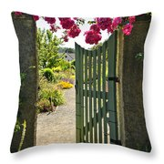 Open Garden Gate With Roses Throw Pillow by Elena Elisseeva