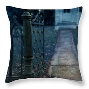Open Iron Gate To Old House Throw Pillow by Jill Battaglia