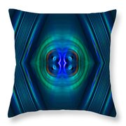 Optical Blue Throw Pillow by Carolyn Marshall
