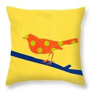 Orange Bird Throw Pillow by Linda Woods