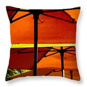 Orange Sliced Umbrellas Throw Pillow by Karen Wiles